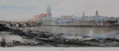 """Aquarell auf Radierung - Gerhard Prechtl (1951 Regensburg) """"Ansicht von Regensburg vom oberen"""