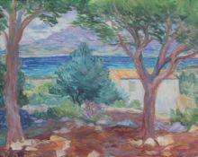 """Gemälde - Greta Lippl-Heinsen (Augsburg 1910 - 1990 Fischen am Ammersee?) """"Calvi - Insel Korsika"""","""
