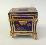 Biedermeier Zuckerdose Glas, kobaltblau mit Goldbemalung, mit Messingmontur. Sehr gut erhalten. Wohl