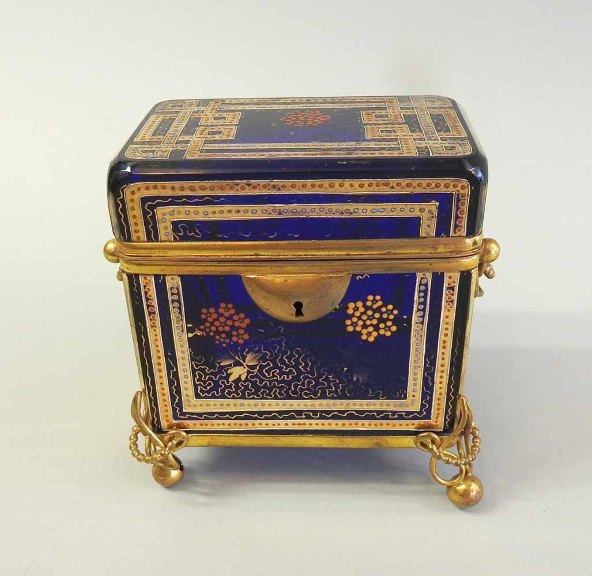 Los 40 - Biedermeier Zuckerdose Glas, kobaltblau mit Goldbemalung, mit Messingmontur. Sehr gut erhalten. Wohl