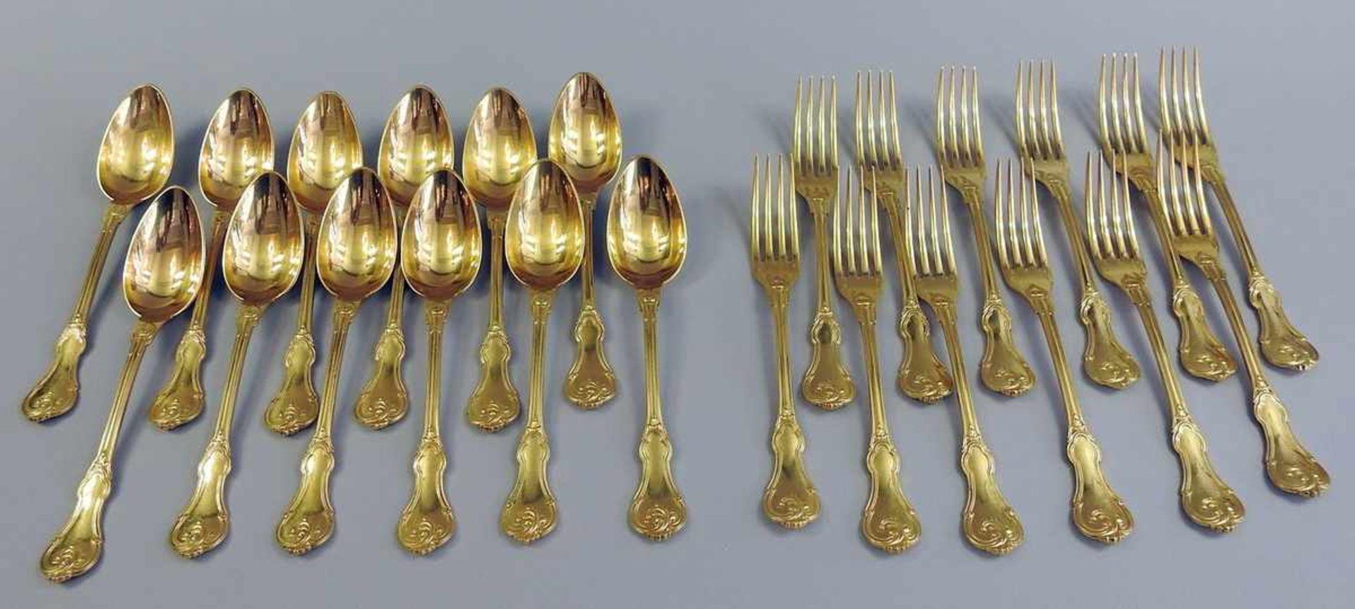 Los 4 - Gabel- und Löffelservice für 6 Personen Silber plated, punziert, Hersteller Christofle. 12-teilig,