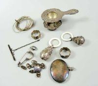 Konvolut Kleinsilber Silber 800. Das Konvolut besteht aus 12 Teilen, darunter ein Alpacca Silber