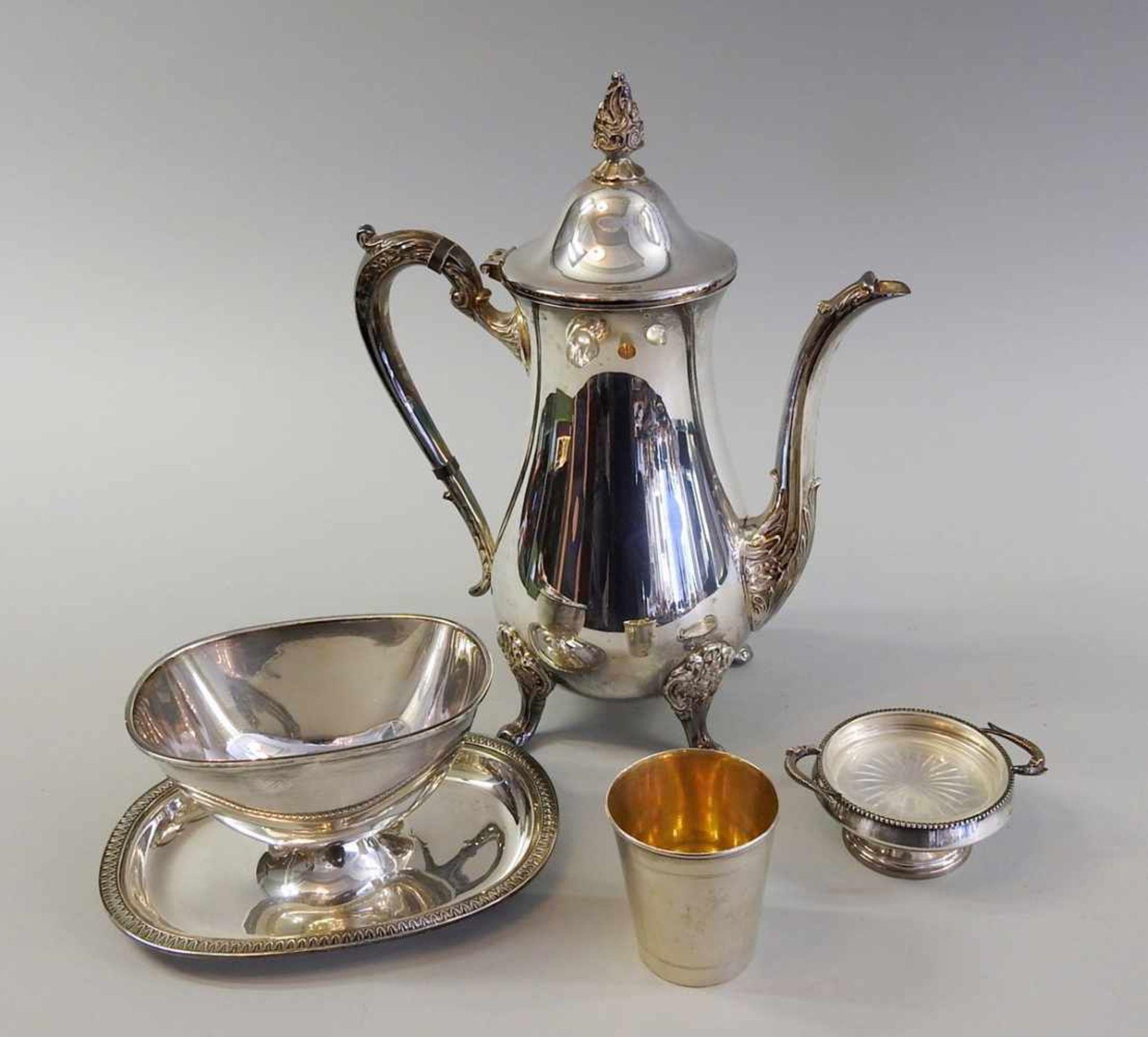 Los 2 - Sammlung kleiner Silberteile Bestehend aus einer Silber plated Kanne, einer Sterling Silber 925