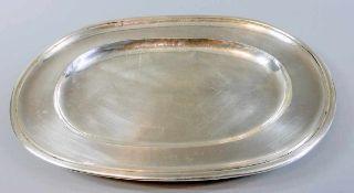 """Ovale Silberplatte Silber 835, am Rand gepunzt, Halbmond und Krone, 835, und """"G"""" mit Stern für Jakob"""