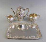 Prunkvolles Kaffeeservice auf Présentoir Silber Sterling 925, jeweils punziert am Boden und am