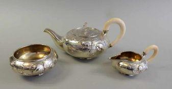 Außergewöhnliches Jugendstil Teeservice Silber 800, jeweils mit Halbmond und Krone, Silber 800 von