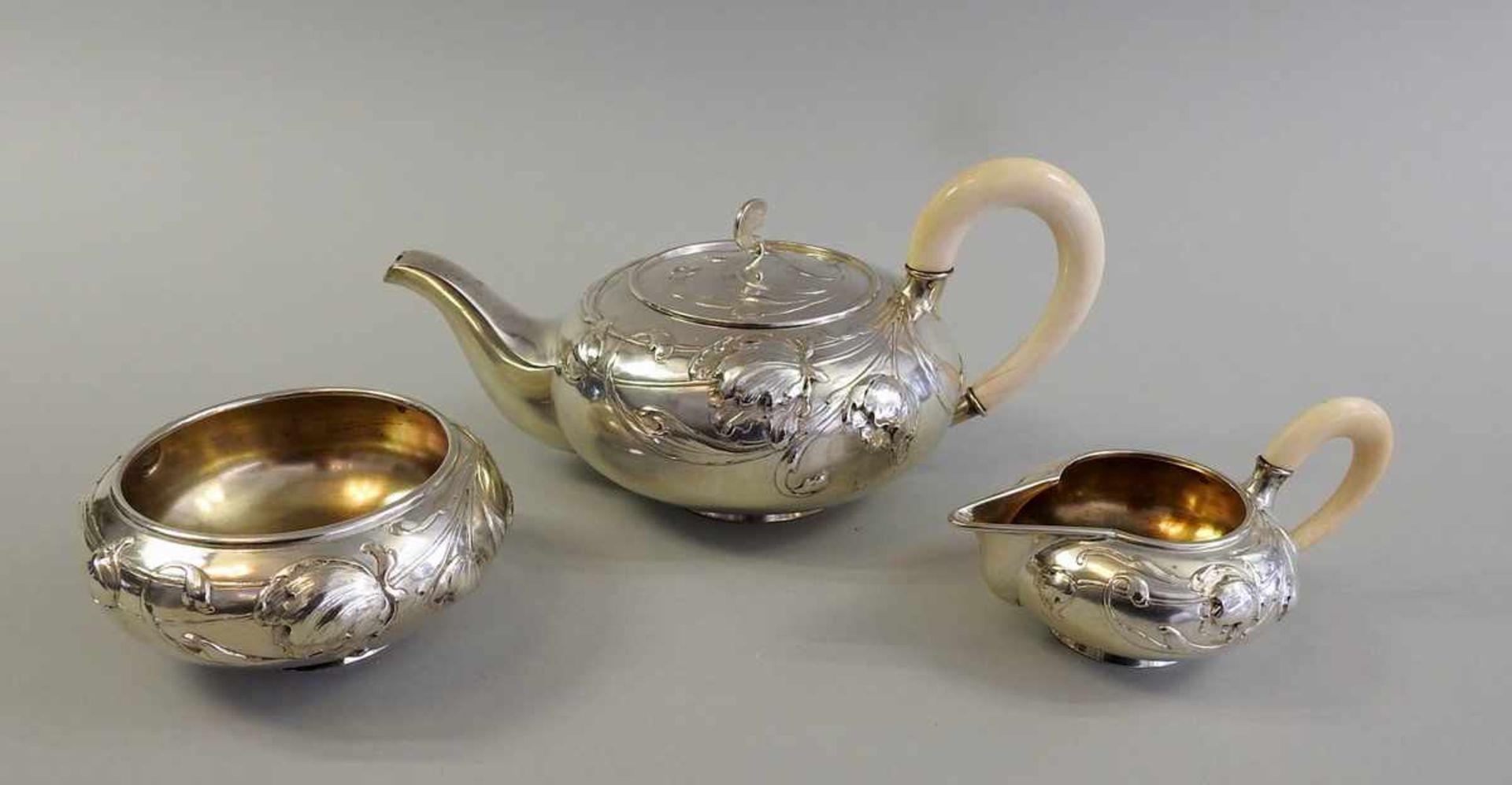 Los 8 - Außergewöhnliches Jugendstil Teeservice Silber 800, jeweils mit Halbmond und Krone, Silber 800 von