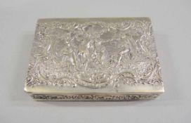 Prunkvolles Zigarettenetui Silber 800, Halbmond und Krone, am Boden punziert. Der Scharnierdeckel