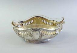 Jugendstil Jardinière Silber 800, am Standring punziert, wohl Halbmond und Krone und weitere