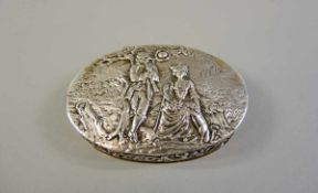 Dose Silber 800, mit Feingehalt, Halbmond und Krone punziert. Die Dose ist inwendig vergoldet,