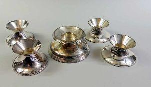 5 Kerzenleuchter Silber 925 und 835 und weighted, einzeln inwendig mit Feingehaltstempel, Halbmond