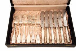 Silberbesteck Gabel- und Messersatz für 6 Personen, um 1890, graviert mit verschlungenem