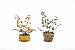 Paar naturalistische Pflanzkörbchen,Tiffany & Co Mexico, Silber, vergoldet, Höhe max. 11,5 cm.