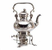 Teekessel mit Rechaud, Deutsch 19.JH. 12-lötiges Silber. Auf drei Blattfüßen mit geschwungenen