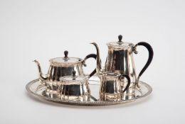 5-teilig. Kaffee-Teeservice,Koch & Bergfeld, Bremen für Lameyer, Hannover. Bestehend aus ovalem