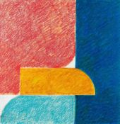 Georg Karl Pfahler Emetzheim 1926 - 2002 Komposition rot, gelb, blau Farbige Kreide und Aquarell auf