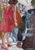 Robert Birmelin 1933 Red Dress II Ölmischtechnik auf Papier, 2004; H 63 cm, B 48 cm; signiert u.