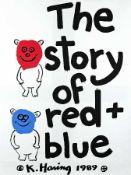 Keith Haring 1958 Kutztown - 1990 New York The story of red + blue Mappe mit Siebdrucken auf Papier;