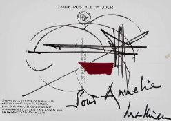 Georges Mathieu 1921 Informelle Komposition Faserstift und collagierter Filz auf Postkarte; H 105