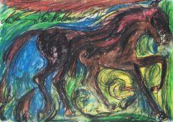 Antonius Höckelmann 1937 Zwei Pferde Ölkreide auf Papier, 1994; H 495 mm, B 698 mm; signiert o.
