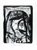 Jonathan Meese 1970 Tokyo Deutscher Maler und Performancekünstler. Getreidegott Lithografie auf
