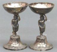 Paar Aufsatzschälchen Silber, 13-lötig, punziert, Österreich-Ungarn, Wien 1816, Mittelteil figürlich