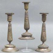 3 Augsburger Kerzenleuchter Silber, punziert, von Johann Georg Kröner 1790-1869, Empireform,