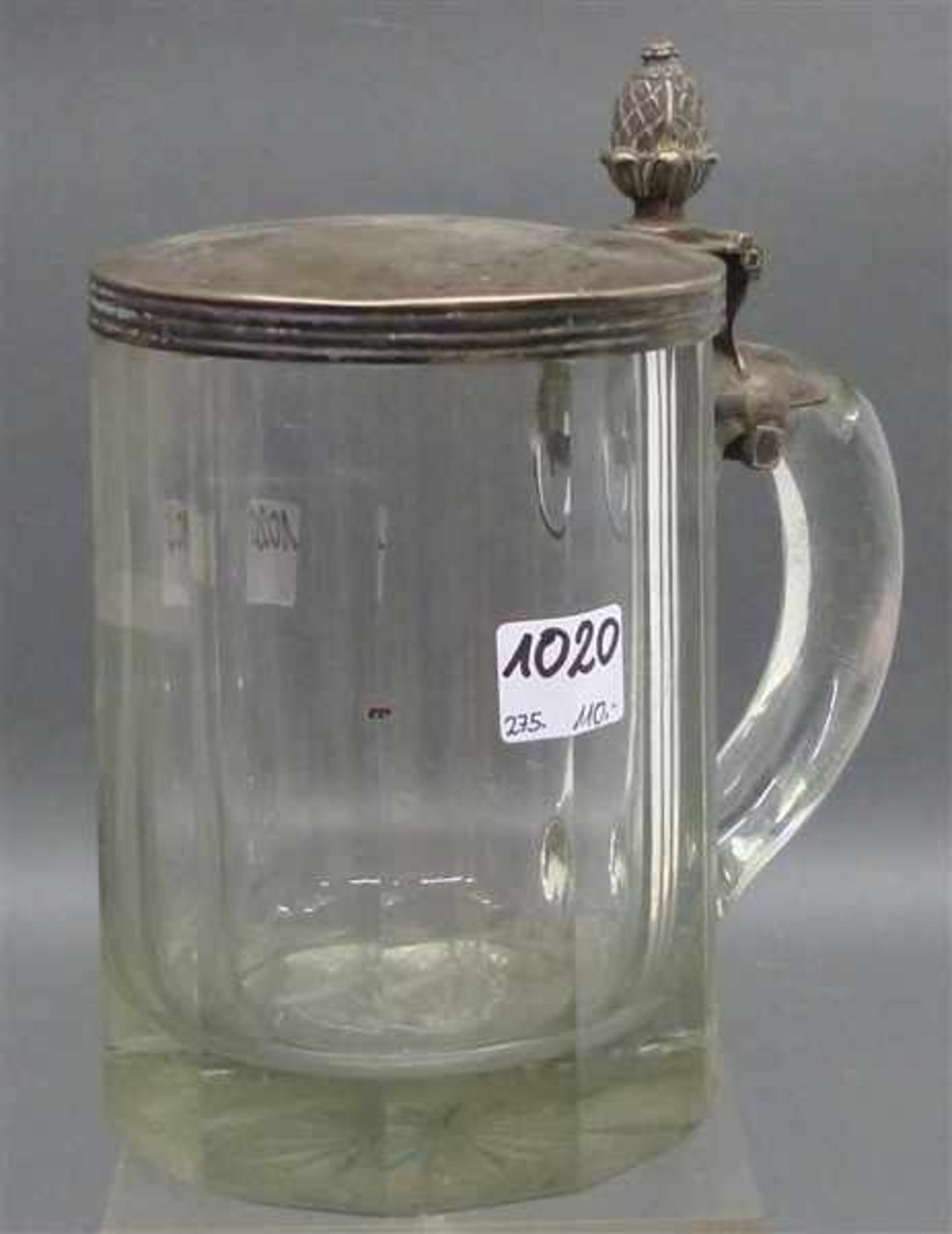 Bierkrug mit Silberdeckel frühes 19. Jh., farbloses Glas, facettiert, Silberdeckel punziert,