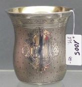Becher Silber, Innenvergoldung, um 1930, Monogrammkartusche, h 7,5 cm, 101 g schwer,