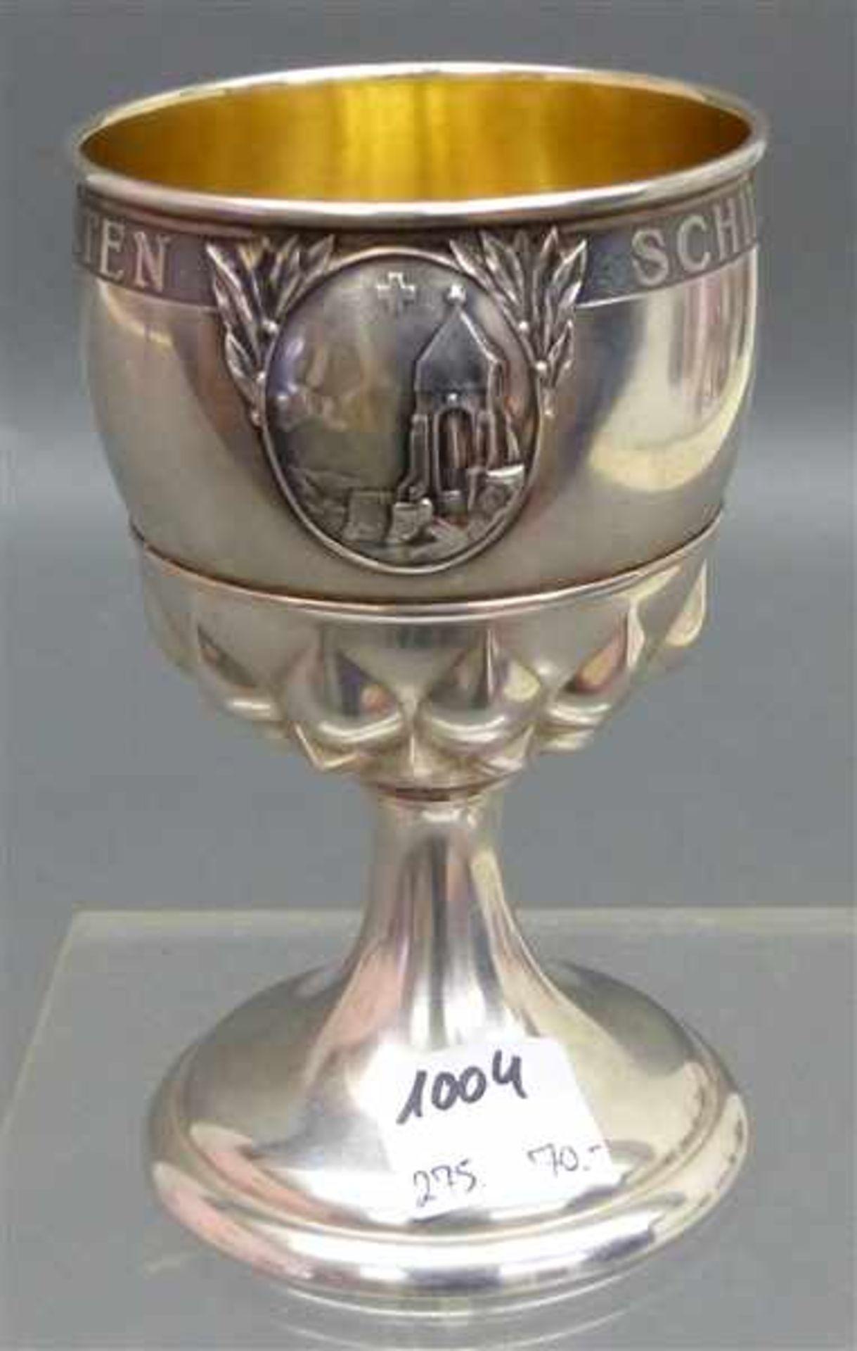 "Los 1004 - Silberpokal Innenvergoldung, graviert: ""Schiessen 1944 Morgarten"", punziert, h 11 cm, 134 g schwer,"