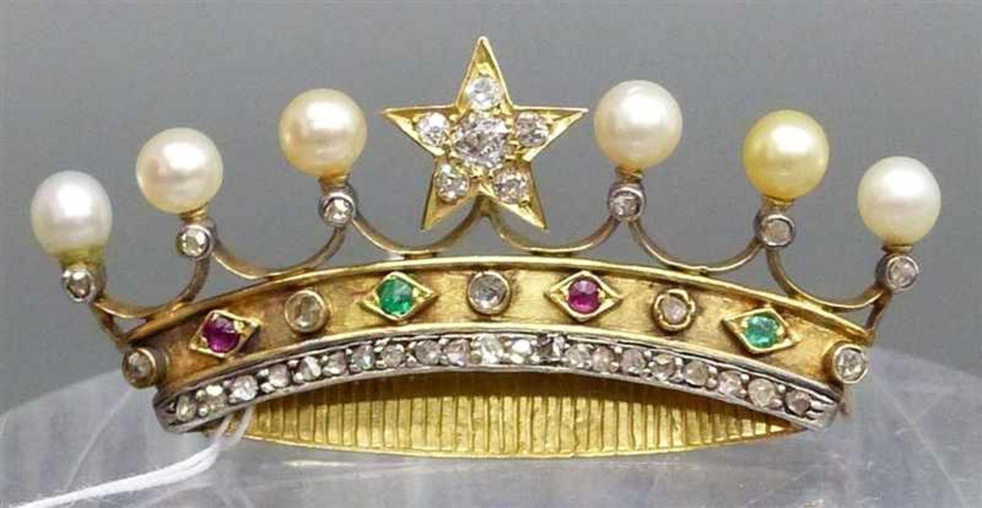 Brosche, 19. Jh. 14 kt. Gelbgold, in Form einer Krone, besetzt mit ca. 36 Diamanten und