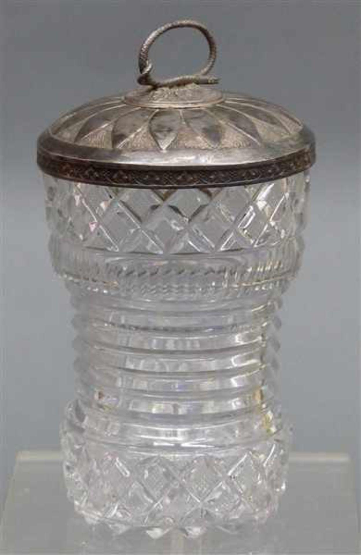 Pokalglas mit Augsburger Silberdeckel farbloses Glas, beschliffen, Deckel punziert, Johann Georg