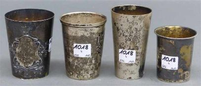 4 Silberbecher 800 punziert, 19./20. Jh., teilweise Reliefdekor, verschieden, zus. ca. 270 g schwer,