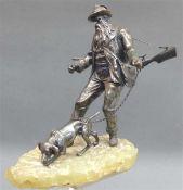 Silberskulptur Jäger mit Gewehr und Hand auf Steinsockel, Silber, h 20 cm, ohne Sockel, 1. Hälfte