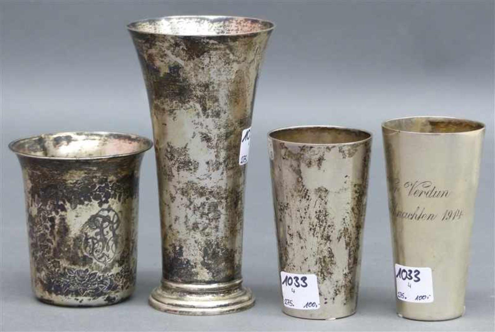 "Los 1033 - Konvolut 4 Becher Silber, punziert, 19./20. Jh., 2 x graviert: ""Preisschießen 1903"" und ""Vor Verdun,"