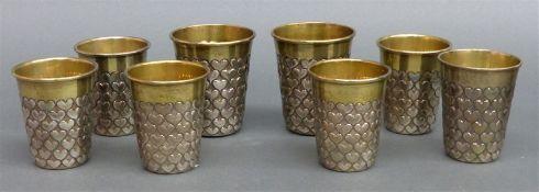 8 Herzbecher 925 Silber, punziert, Fa. Edzard, Augsburger Modell, Innenvergoldung, Handarbeit,