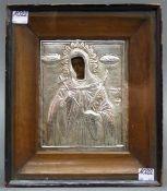 Ikone mit Silberrisa, Griechenland, Mutter Gottes, auf Holz, im verglasten Holzrahmen, 17x14 cm,