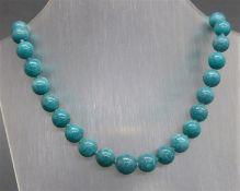 Halskette 925 Silber, Magnetschloss, 38 geschliffene grüne Achatperlen, l 42 cm,