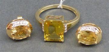 Schmuckgarnitur 14 kt. Gelbgold, 1 Damenring, 1 Citrin/Emeraldcut, 6 kl. Diamanten, ca. 5 g