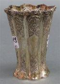 Ziervase Silber, Persien, Wellrand, florale Gravur, ca. 155 g schwer, h 10 cm,