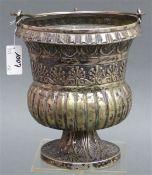 Kirchenampel Silber, beschädigt, Pokalform, floraler Dekor, gefußt, Neapel 17./18. Jh.,