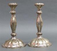 Paar Kerzenleuchter Silber, punziert, Österreich-Ungarn, Wien, 13-lötig, barocke Form, zus. ca.