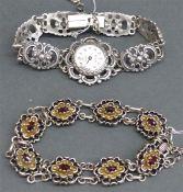 Konvolut Trachtenschmuck Silber, 1 Armband mit Granatbesatz, durchbrochen gearbeitet, Bartel u.
