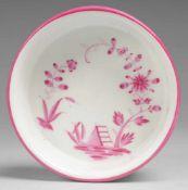 Schälchen mit indischer Malerei Weiß, glasiert. Runde, steilwandige Form. Purpurfarbene Bemalung,