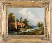 Brügner, Cölestin (Berlin 1824-1887) Kirchturm und holländische Giebelhäuser an schmalem Fluss und
