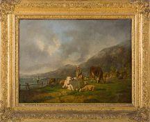 Cortes Y Aquilar, Andrés (1842-1897) Kuhherde und Hirtin auf Weide an Meeresufer. Sign. u. dat.