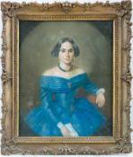 Biedermeier-Pastellmaler (um 1830) Dunkelhaarige Dame in blauem, dekolletiertem Kleid und