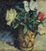 Hellmeier, Otto (München, 1908-1996) Rosen in Keramikvase. Sign. Malkarton. 29×25 cm. Rückseitig