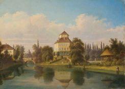 Herdtle, Hermann (Stuttgart 1819-1889) Wasserschloss Oppenweiler auf einer künstlichen Insel im