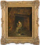 Haag (um 1871) Knabe vor Kamin, seine Suppe aus Keramiktopf löffelnd. Daneben Katze am Futternapf.